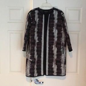 Lafayette Black & Grey Long Duster Jacket Suit M